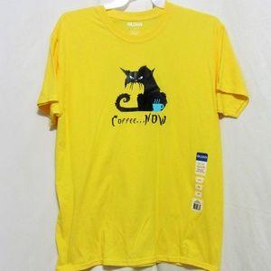 Custom Graphic, Unisex Tee, Large, Cat/Coffee,